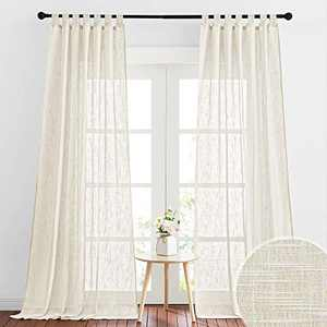 RYB HOME Sheer Curtains 96 inches Long, Linen Textured Semi Sheer Farmhouse Curtains Sunlight Filtering Airy Window Treatment for Bedroom Living Room, W 52 x L 96 inch, 2 Panels, Warm Beige