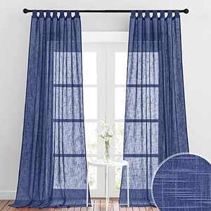 RYB HOME Linen Sheer Curtains - Semi-Translucent Privacy Sheer Curtain Drapes for Farmhouse Living Room Dining Room, 52 inch Wide x 108 inch Long, 2 Panels, Navy Blue