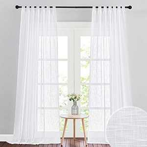 RYB HOME White Sheer Curtains for Living Room, Linen Textured Sheer Drapes Wall Panels Backdrop Filter Sunlight Glare for Bedroom Office Doorway, W 52 x L 96 inch, 2 Panels, White