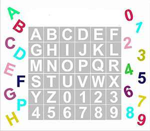 Alphabet Letter Stencils, 36 Pcs Reusable Plastic Letter Number Templates, Art Craft Stencils for Wood, Wall, Fabric, Rock, Chalkboard, Signage(4 inch)