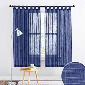 RYB HOME Linen Textured Semi Sheer Curtains Light Glare Filtering Privacy Drapes for Home Office Bathroom Bedroom Window Decor, W 52 x L 63 inches Long per Panel, 2 Pcs, Navy Blue