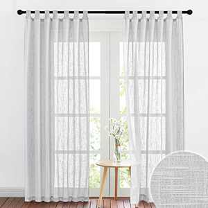 RYB HOME Linen Sheer Curtains - Privacy Textured Semi Sheer Drapes Light Glare Filtering for Bedroom Living Room French Door Window Decor, Width 52 in x Length 84 in, 2 Panels, Dove Grey
