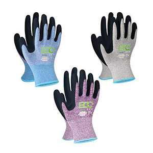 KANGLONGDA 7 Pairs Women Gardening Gloves, EN388 2131X Outdoor Protective Work Gloves with Breathable Micro-Foam Coating for Gardening, General Purpose, Courtyard, 3 Purple + 3Blue +1 Grey