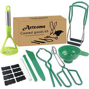 Artcome Home Canning Kit Canning Supplies Set Including Jar Lifter, Canning Funnel, Jar Wrench, Lid Lifter, Canning Tongs, Bubble Popper/Bubble Measurer/Bubble Remover Tool for Mason Jars (Green)