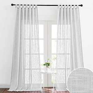 RYB HOME Semi Sheer Curtains for Living Room, Faux Linen Textured Sheer Curtains Privacy Light Airy Window Decor for Bedroom Dining, Wide 52 x Long 96 per Panel, 1 Pair, Dove Grey