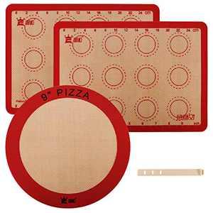 Silicone Baking Mat Set,Heat-Resistant,Non-Stick,Reusable Food Safe Baking Mat,Cookie Baking Mat,Pizza Mat,Macaron Baking Mat, Set of 3pcs