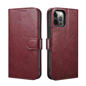 """ICARERSPACE Compatible with iPhone 12 Mini Case[5.4""""], Leather Folio Flip Cover Case with Kickstand and Credit Card Slots Designed for iPhone 12 Mini - Wine Red"""