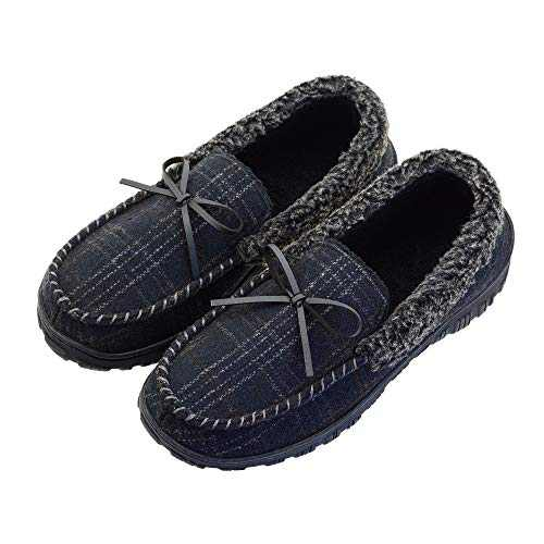 LseLom Mens Moccasin Slippers with Cozy Memory Foam Indoor Outdoor Warm House Slippers for Men Size 10 US Black