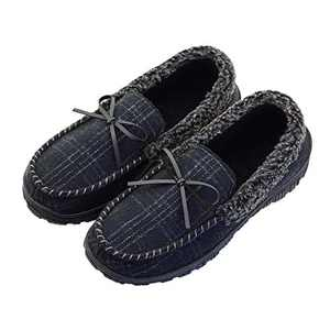 LseLom Mens Moccasin Slippers with Cozy Memory Foam Indoor Outdoor Warm House Slippers for Men Size 12 US Black