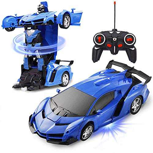 YEYUNTO Transform Gesture Remote Control Car ,Remote Control Car Transform Robot Gesture Sensing Toys, RC Cars Robot for Kids,Best Gift for Kids and Adults (Blue)