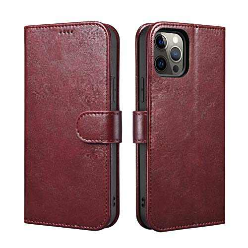 "ICARERSPACE Compatible with iPhone 12 Pro Max Case[6.7""], Leather Folio Flip Cover Case with Kickstand and Credit Card Slots Designed for iPhone 12 Pro Max - Wine Red"