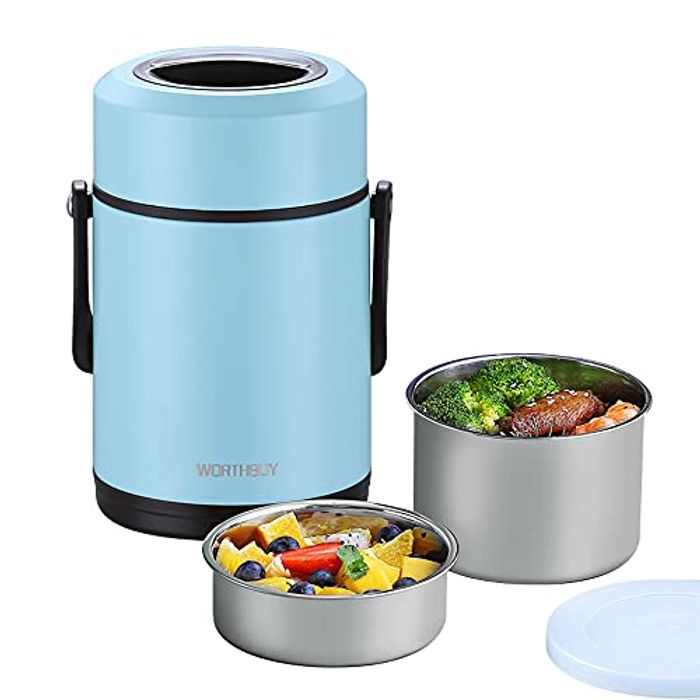 HOMESPON Vacuum Insulated Lunch Box 1.9L Stainless Steel Thermal Food Container Leak Proof Food Flask with Handles 12 Hours Holding Time for School Office