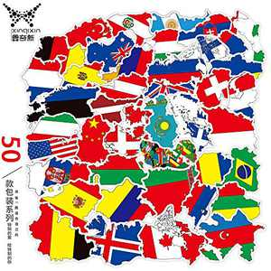 Kids Educational Landmarks World Map Stickers,Countries Flags Stickers for Travel Map(50pcs)