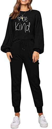 ETCYY Women Sweatsuits Set 2 Piece Outfits Batwing Sleeve Pajamas Set Joggers Workout Yoga Athletic Tracksuit Jumpsuits Black