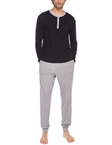 Ekouaer Mens Pajama Sets Long Sleeve 2 Piece Pjs Set Soft Cotton Nightwear,Black,Small
