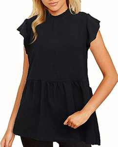 Hilinker Women's Ruffle Sleeve Babydoll Blouse Casual Loose Fitted T Shirt Tops Black Small