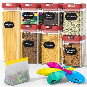 Airtight Food Storage Containers Set, BPA Free Plastic Cereal Containers Premium Kitchen Pantry Organization and Storage Container - Includes Spoon and a Small Food Storage Bag (7 Pieces)