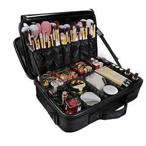 Makeup Train Case 3-Layers Cosmetic Case Organizer Portable Artist Storage Bag with Adjustable Dividers and Shoulder Strap for Cosmetics Makeup Brushes Toiletry Travel Accessories
