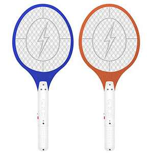 Micnaron Electric Fly Swatter 2 Packs, Rechargeable Fly Mosquito Swatter 3500V, Handheld Bug Zapper Racket with Safe to Touch Mesh Net (Blue&Yellow)