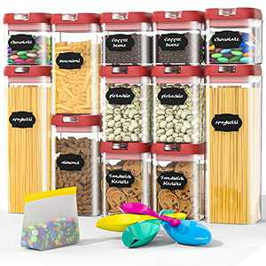 Airtight Food Storage Containers Set, BPA Free Plastic Cereal Containers Premium Kitchen Pantry Organization and Storage Container - Includes Spoon and a Small Food Storage Bag (12 Pieces)