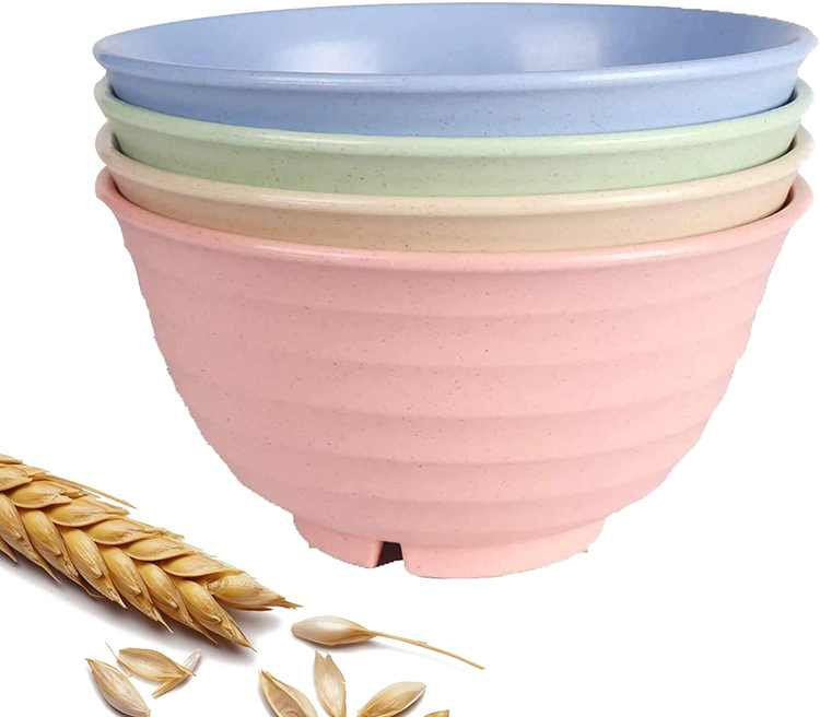 Canruover Unbreakable Cereal Bowls, 32 OZ Bowls, 4 Pcs Rice Cereal Pasta Salad Bowl, Dishwasher & Microwave Safe, BPA Free Healthy Kitchen Bowls for Kids & Adult