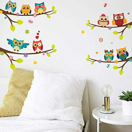 Colorful Wall Decals for Living Room Cute Owls Branches and Flowers Wall Decals for Girls Kids Bedroom Kitchen Nursery Room Decorations