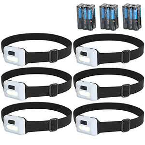 Cadai 6 Packs Headlamp Flashlight 800 Lumens Super Bright Cree Led, Ultra Lightweight 1.19 oz, Comfortable Headband, Perfect for Runners,Camping, Hiking,Working
