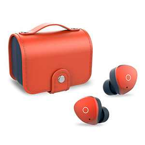 SOMIC W40 Ture Wireless Bluetooth Earbuds, 5.0 TWS Touch Control Earphone Deep Bass Stereo Sound Hi-Fi Audio in-Ear Headphone with 2 Bulit-in Microphones and Leather Charging Case, Orange