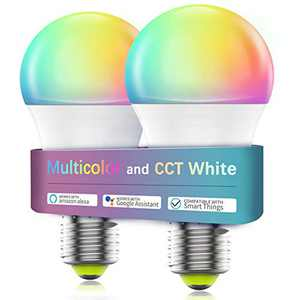 Smart Light Bulb WiFi & Bluetooth Connect, Comoyda RGBCW Color Changing Dimmable LED Bulb A19 E26 7w (60W Equivalent) Compatible with Alexa, Google Home, Siri, No Hub Required (2 Pack)