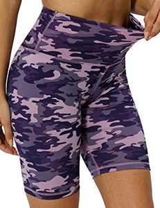 "8"" High Waist Workout Biker Yoga Shorts Athletic Running Tummy Control Short Pants with No Side Pockets for Women Pink Purple Camo-M"
