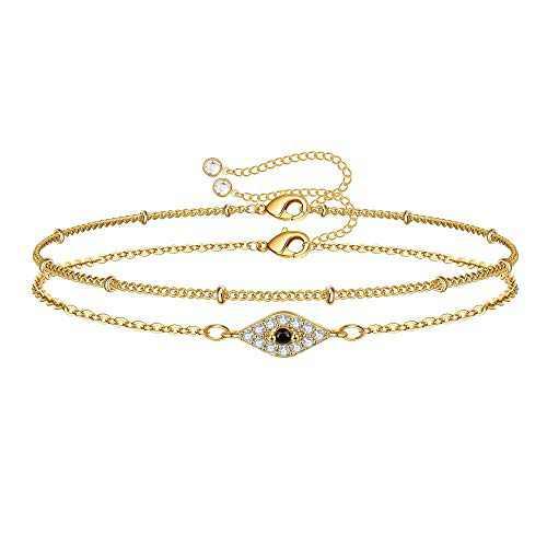 IEFWELL Dainty Evil Eye Bracelets for Women, 14K Gold Filled Handmade Blue CZ Gold Evil Eye Bracelets for Women Teen Girl Evil Eye Jewelry