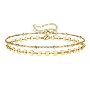 IEFWELL Dainty Layered Gold Bracelets for Women, 14K Gold Plated Cute Tiny Disc Layered Satellite Chain Gold Bracelets for Women Gold Jewelry