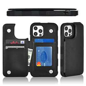 """Ktinnead Compatible with iPhone 12/12 Pro Wallet Case with Card Holder, PU Leather Kickstand Credit Card Slots Case, Double Magnetic Clasp Durable Shockproof Cover, Case for iPhone 12/12 Pro 5G 6.1"""""""