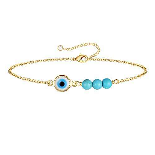 IEFWELL Gold Dainty Evil Eye Bracelets, 14K Gold Plated Tiny Cute Elegant Three Turquoise Protection Fatima Gold Bracelets for Women Evil Eye Jewelry