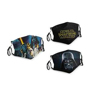 Star-Wars The Black Series Darth Vader Face Balaclava Bandanas Dust Face Cover Reusable Adjustable Mask 3 Packs Elastic Strap with 6 Filters Masks Made In USA