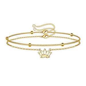 IEFWELL Dainty Layered Lotus Bracelets for Women, 14K Gold Filled Tiny Layering Beaded Bracelet Gold Layered Lotus Chain Bracelets for Women Jewelry