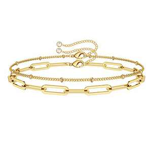 IEFWELL Dainty Gold Bracelets for Women, 14K Gold Plated Oval Link Chain Handmade Cute Paperclip Link Chain Gold Bracelets for Women Girls Jewelry