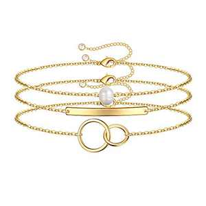 IEFWELL Layered Gold Bracelets for Women, 14K Gold Filled Cute Layering Circle Pearl Bracelets Handmade Gold Layered Bar Chain Bracelets for Women Jewelry