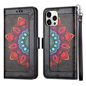 Coolden Compatible with iPhone 12 Pro Max Wallet Case with Card Holder Slot PU Leather Magnetic Button Kickstand Wrist Strap Printing Flower Pattern Slim Flip Folio Protective Cover Black