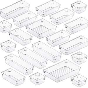 Fixwal 20pcs Clear Drawer Organizers Set 5 Size Drawer Tray Dividers Organizers Versatile Kitchen Utensil Bathroom Office Storage Divider Bin for Desk Makeup Dresser Vanity Cabinet