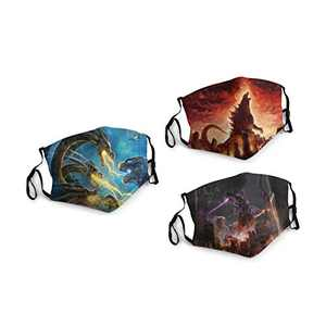 God-Zilla King of The Monsters Face Balaclava Bandanas Dust Face Cover Reusable Adjustable Mask 3 Packs Elastic Strap with 6 Filters Masks Made In USA