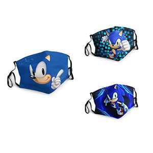 3 Packs Unisex Washable Soft Scarf Warm Mouth Cover Windproof Dustproof Bandana Reusable Face Mask with 6 Filters Made in USA Tails So-nic The Hedgehog Movie FanArt Anime