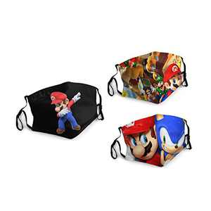 Super-Mario Bros Game Face Balaclava Bandanas Dust Face Cover Reusable Adjustable Mask 3 Packs Elastic Strap with 6 Filters Masks Made In USA