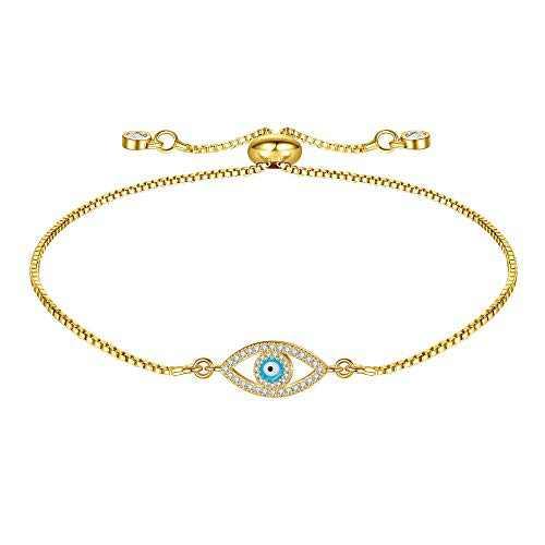 IEFWELL Dainty Gold Evil Eye Bracelets for Women, 14k Gold Plated Dainty Evil Eye Beads Bracelet Layered Handmade Charm Bracelet Gifts for Her Women Jewelry