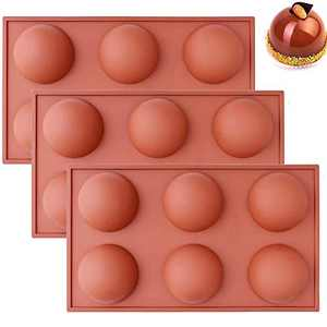 3-Pack Silicone Molds for Chocolate Bombs,Large Semi Sphere Silicone Mold for Hot Chocolate Bomb,Cocoa Bombs,Cake,Desserts,Ice Cream,etc