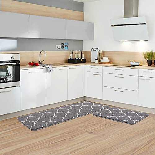 "Kitchen Rug Set Microfiber Moroccan Trellis Kitchen Mats Non-Slip Soft Super Absorbent Bath Doormat Runner Carpet Set,Washable for Kitchen,Floor Home,Office,Sink,Laundry,17""x48""+17""x24"",Grey"