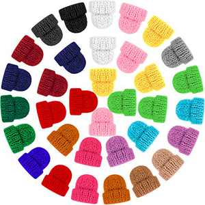 Mini Christmas Knit Hats Assorted Colors Craft Knitting Hats Doll Craft Hat Christmas Tree Ornaments Hats for DIY Hair Accessories Jewelry Making Crafts (48)