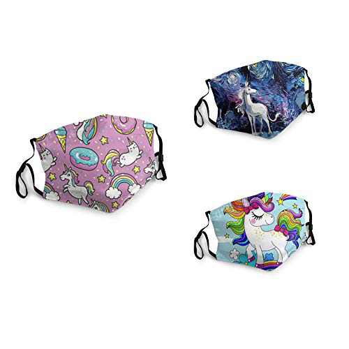 3 Packs Unisex Washable Soft Scarf Warm Mouth Cover Windproof Dustproof Bandana Reusable Face Mask with 6 Filters Made in USA Unicorn Galaxy Paint Cute Rainbow Pink Dab