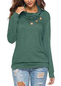 KISSMODA Women's Casual Long Sleeve Cowl Neck Solid Color Pullover Sweatshirt Loose Tops