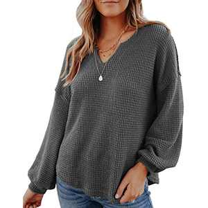 Women's V Neck Long Sleeve Waffle Knit Top Loose Oversized Pullover Sweater Henley Shirts (Large, Dark Grey)